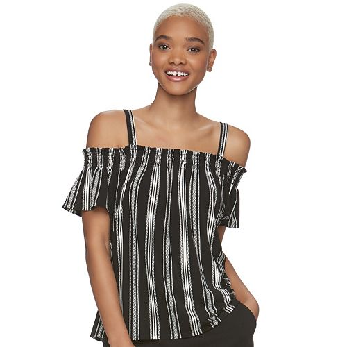 a7cea901719 Juniors  Candie s® Smocked Cold-Shoulder Top