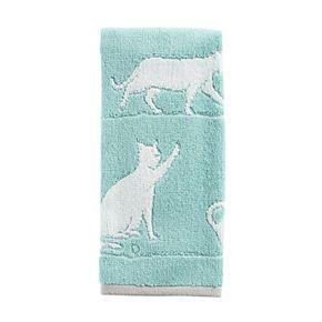 One Home Jacquard Kitty Cat Hand Towel