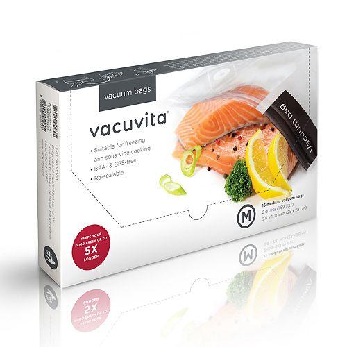 Vacuvita 1-gallon Resealable Vacuum Bags 15-pack