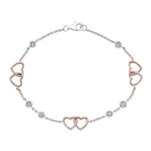 Two Tone Sterling Silver Heart Link Station Bracelet