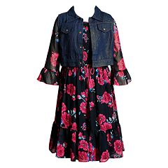 Girls 7-16 Emily West Bell Sleeve Peasant Dress & Denim Vest