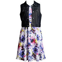 Girls 7-16 Emily West Sleeveless Floral Dress & Denim Vest