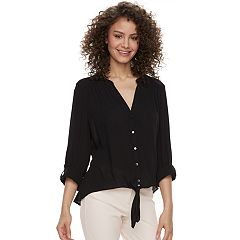 Juniors' Candie's® Crepe Button-Front Shirt