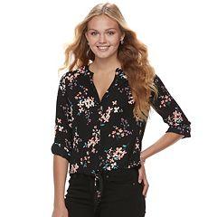 Juniors' Candie's® Crepe Button-Front Shirt