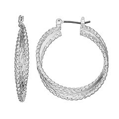 Napier Triple Twiasted Hoop Earrings