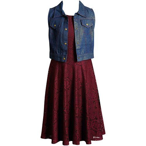 Girls 7-16 Emily West Sleeveless Crochet Dress & Glitter Vest