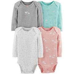 Baby Girl Carter's 4-pack Long Sleeve Graphic Bodysuits