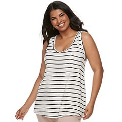Juniors' Plus SO® Striped V-Neck Pocket Tank