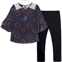 Girls 7-16 IZ Amy Byer Bell Sleeve Tunic, Leggings & Necklace Set