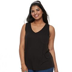 Juniors' Plus SO® Solid V-Neck Pocket Tank
