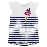 Girls 4-8 Carter's Sequin Applique Striped High-Low Tee