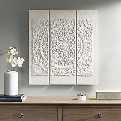 Madison Park Raised Medallion Canvas Wall Art 3-piece Set
