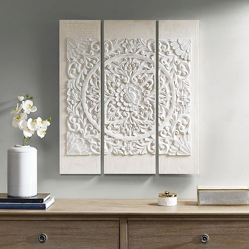 Madison Park Raised Medallion Canvas Wall Art 3 Piece Set