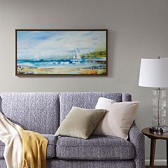 Madison Park Seaside Harbor Framed Canvas Wall Art