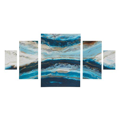 Madison Park Midnight Tide Agate Canvas Wall Art 5-piece Set