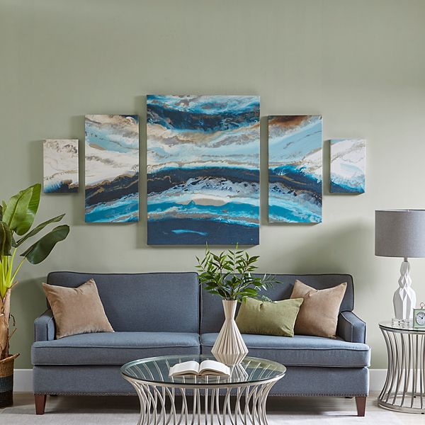 Madison Park Midnight Tide Agate Canvas Wall Art 5 Piece Set