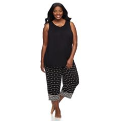 Plus Size Croft & Barrow® Printed Tank & Capri Pajama Set