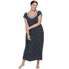 Plus Size Croft & Barrow® Printed Lace Trim Nightgown