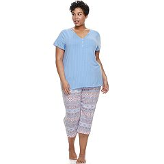 Plus Size Croft & Barrow® Henley Tee & Capri Pajama Set