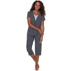 Women's Croft & Barrow® Lace Trim Tee & Capri Pajama Set