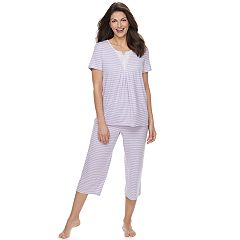 Women's Croft & Barrow® Lace Trim Tee & Capri Pajama Set