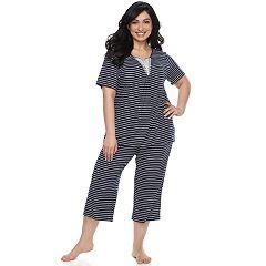 Plus Size Croft & Barrow® Lace Trim Tee & Capri Pajama Set