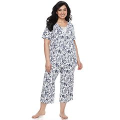 Plus Size Croft & Barrow® Lace Trim Tee & Capri Pajama Set