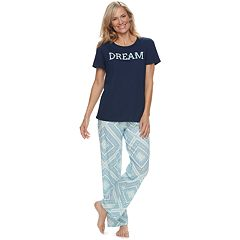 Women's Croft & Barrow® Graphic Tee & Pants Pajama Set