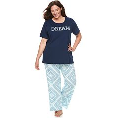 Plus Size Croft & Barrow® Graphic Tee & Pants Pajama Set