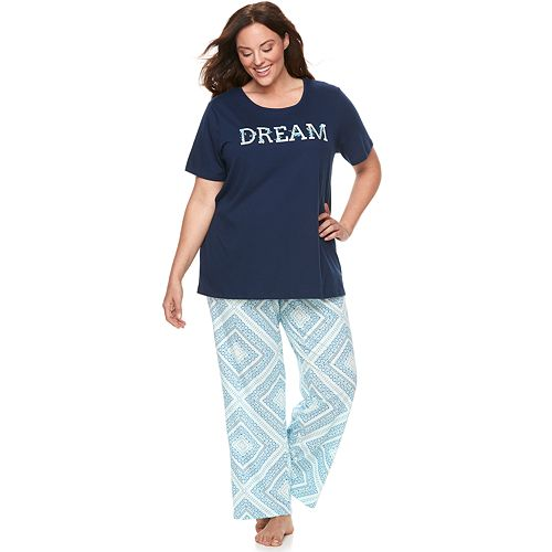 a147b39bc Plus Size Croft   Barrow® Graphic Sleep Tee   Pants Pajama Set