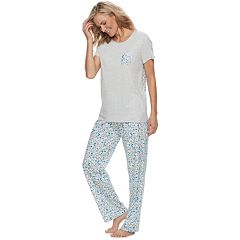 Women's Croft & Barrow® Crewneck Tee & Pants Pajama Set