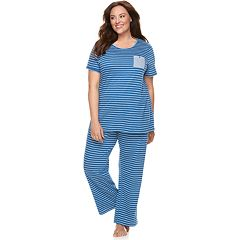 Plus Size Croft & Barrow® Crewneck Tee & Pants Pajama Set