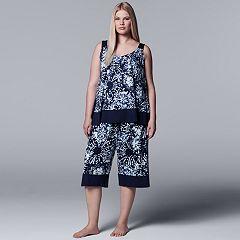 Plus Size Simply Vera Vera Wang Floral Tank & Culottes Pajama Set
