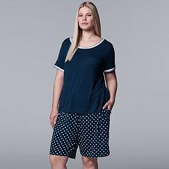 Plus Size Simply Vera Vera Wang Tee & Bermuda Shorts Pajama Set