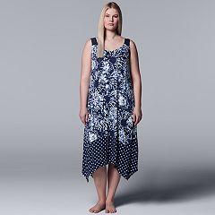 Plus Size Simply Vera Vera Wang Handkerchief Hem Long Chemise