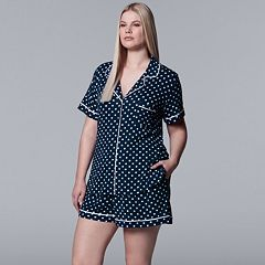 Plus Size Simply Vera Vera Wang Notch Collar Shirt & Shorts Pajama Set