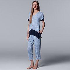 Women's Simply Vera Vera Wang Handkerchief  Tee & Capri Pajama Set