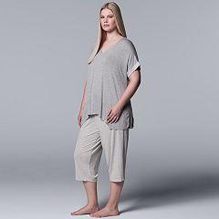 Plus Size Simply Vera Vera Wang Handkerchief  Tee & Capri Pajama Set