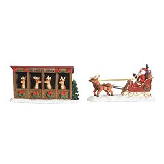 St. Nicholas Square® Village Set of 2 Reindeer Barn and Santa Sleigh