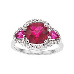 Sterling Silver Lab-Created Ruby Cushion Ring