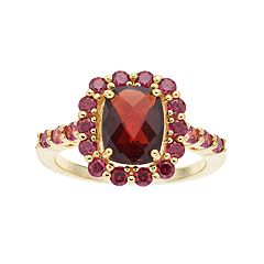 14k Gold Over Silver Garnet & Cubic Zirconia Ring