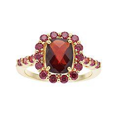 14k Gold Over Silver Garnet & Cubic Zirconia Ring