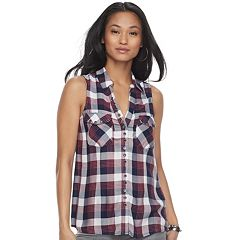 Women's Rock & Republic® Plaid Grommet Tank