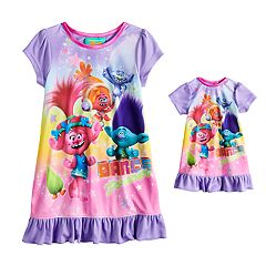 Toddler Girl DreamWorks Trolls Poppy & Branch Nightgown & Doll Nightgown