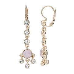 Dana Buchman Pink & White Crystal Linear Drop Earrings