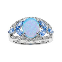 Sterling Silver Simulated Blue Opal & Cubic Zirconia Split Shank Ring