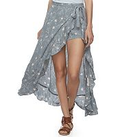 Juniors' Vanilla Star Ruffled Floral Walk-Through Maxi Skirt