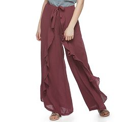Juniors' Vanilla Star Ruffled Soft Wide-Leg Pants