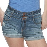 Juniors' Vanilla Star Triplestack High-Waisted Denim Shortie Shorts