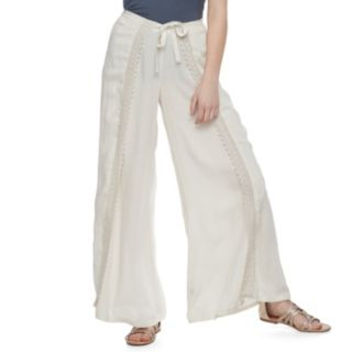 Juniors' Vanilla Star Crochet Soft Wide-Leg Pants